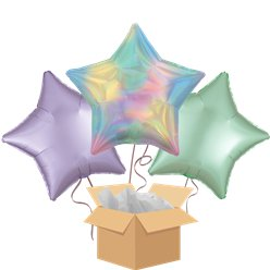 Pastel Rainbow Iridescent Star Balloon Bouquet - Delivered Inflated
