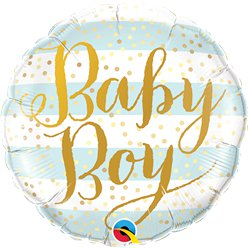 "Blue Stripes Baby Boy Balloon - 18"" Foil"