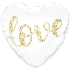 "Gold Glitter Love Heart Balloon - 18"" Foil"