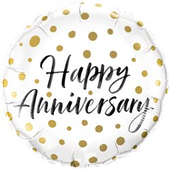 "Happy Anniversary Gold Dots Balloon - 18"" Foil"