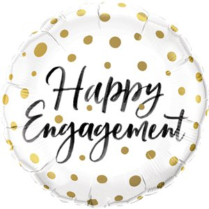 Happy Engagement Gold Dots Balloon - 18