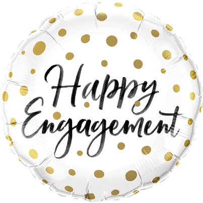 "Happy Engagement Gold Dots Balloon - 18"" Foil"