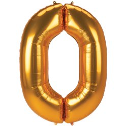 "Gold Number 0 Balloon - 53"" Foil"