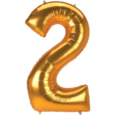 "Gold Number 2 Balloon - 53"" Foil"