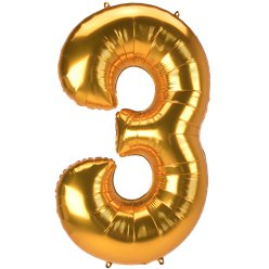 "Gold Number 3 Balloon - 53"" Foil"