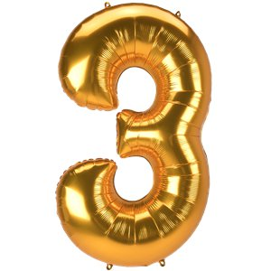 Gold Number 3 Balloon - 53