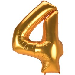 "Gold Number 4 Balloon - 53"" Foil"
