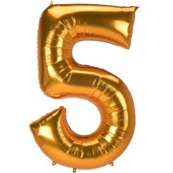 "Gold Number 5 Balloon - 53"" Foil"