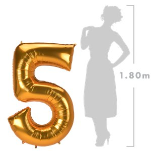 Gold Number 5 Balloon - 53