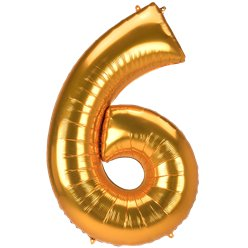 "Gold Number 6 Balloon - 53"" Foil"