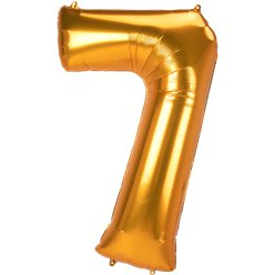 "Gold Number 7 Balloon - 53"" Foil"