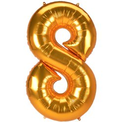 "Gold Number 8 Balloon - 53"" Foil"