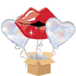 Kissy Lips Balloon Bouquet - Delivered Inflated