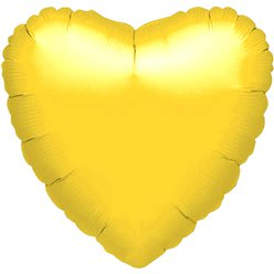 "Metallic Yellow Heart Balloon - 18"" Foil - unpackaged"