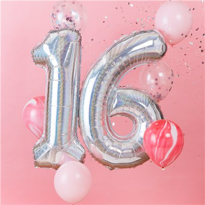 "Age 16 Iridescent Balloon Kit - 2 x 40"" Foils and 6 x 12"" Latex"
