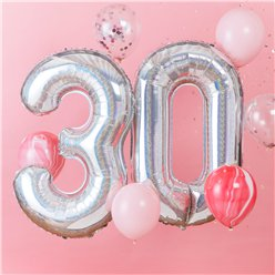 "Age 30 Iridescent Balloon Kit - 2 x 40"" Foils and 6 x 12"" Latex"
