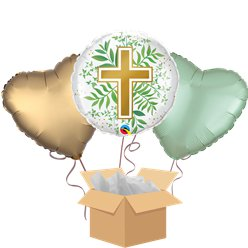 Golden Cross Balloon Bouquet - Delivered Inflated