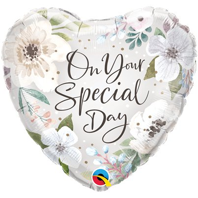 "Special Day Floral Heart Shaped Balloon - 18"" Foil"