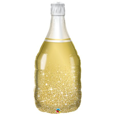 "Sparkling Gold Wine Bottle Supersize Balloon - 39"" Foil"
