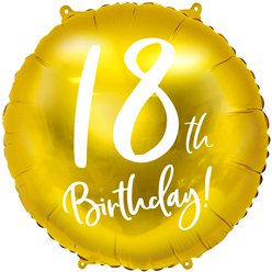 "Gold 18th Birthday Balloon - 18"" Foil"