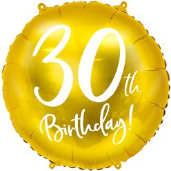 "Gold 30th Birthday Balloon - 18"" Foil"