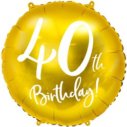 "Gold 40th Birthday Balloon - 18"" Foil"