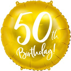 "Gold 50th Birthday Balloon - 18"" Foil"
