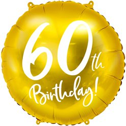 "Gold 60th Birthday Balloon - 18"" Foil"