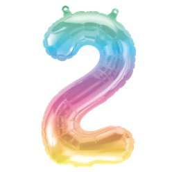 "Pastel Ombre Number 2 Balloon - 16"" Foil"