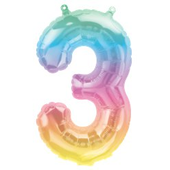 "Pastel Ombre Number 3 Balloon - 16"" Foil"