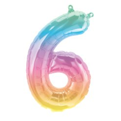 "Pastel Ombre Number 6 Balloon - 16"" Foil"