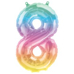 "Pastel Ombre Number 8 Balloon - 16"" Foil"