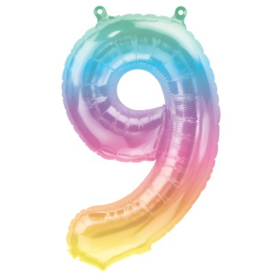 "Pastel Ombre Number 9 Balloon - 16"" Foil"