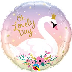 "Oh Lovely Day Swan Balloon - 18"" Foil"