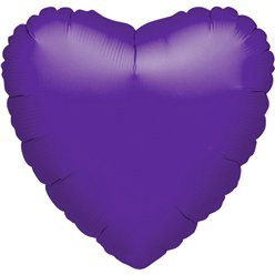 "Purple Quartz Heart Balloon - 18"" Foil - unpackaged"