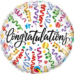 "Congratulations Streamers Balloon - 18"" Foil"