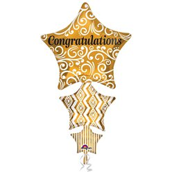 "Congratulations Stacked Gold Star SuperShape Balloon - 25"" Foil"
