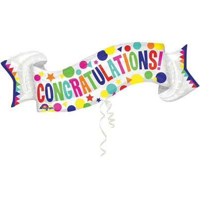 "Congratulations Banner SuperShape Balloon - 40"" Foil"
