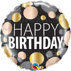 "Happy Birthday Big Metallic Dots  - 18"" Foil"