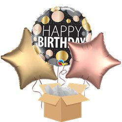 Metallic Dots Happy Birthday Balloon Bouquet - Delivered Inflated