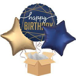 Navy Geode Happy Birthday Balloon Bouquet - Delivered Inflated