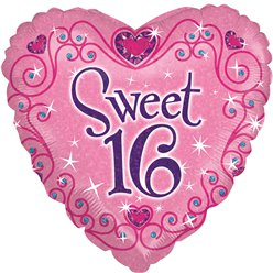 "Sweet 16 Sparkle Balloon - 18"" Foil"
