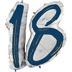 "18th Birthday Navy Marble Effect Balloon - 36"" Foil"