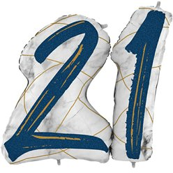 "21st Birthday Navy Marble Effect Balloon - 36"" Foil"