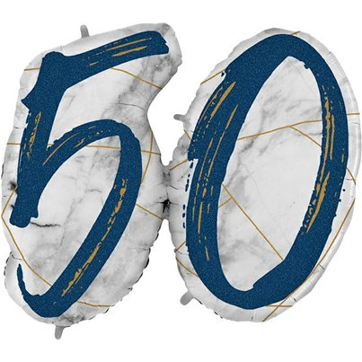 "50th Birthday Marble Effect Balloon - 36"" Foil"