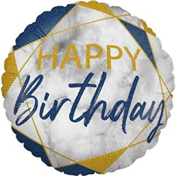 "Happy Birthday Navy Marble Effect Balloon - 18"" Foil"