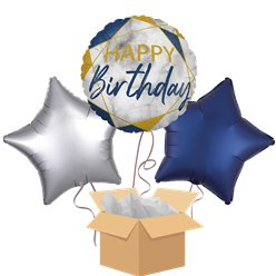 Navy Marble Happy Birthday Balloon Bouquet - Delivered Inflated