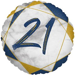"21st Birthday Navy Marble Effect Balloon - 18"" Foil"