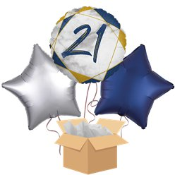 21st Navy Marble Balloon Bouquet - Delivered Inflated