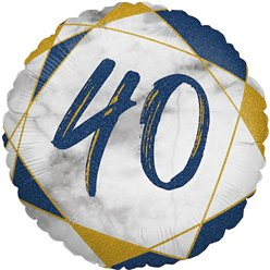 "40th Birthday Navy Marble Effect Balloon - 18"" Foil"
